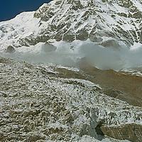 Glacier icefall tumbles below 23,684-foot Annapurna South.