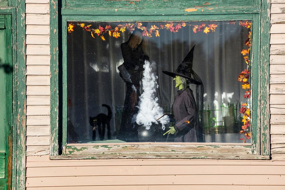 Spooky window for Halloween in Shoshone Idaho