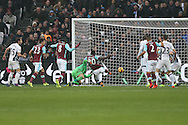 Michail Antonio of West Ham United has a clear shot at goal blocked on the line by Matt Phillips of West Bromwich Albion. Premier league match, West Ham Utd v West Bromwich Albion at the London Stadium, Queen Elizabeth Olympic Park in London on Saturday 11th February 2017.<br /> pic by John Patrick Fletcher, Andrew Orchard sports photography.
