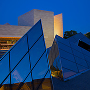 The blue hour casts its hue on the glass sculptures at the East Wing of the National Gallery of Art in Washington, DC