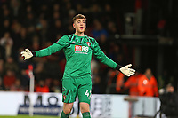 Football - 2019 / 2020 Emirates FA Cup - Fourth Round: AFC Bournemouth vs. Arsenal<br /> <br /> Bournemouth's Mark Travers complains to the assistant referee during the FA Cup match at the Vitality Stadium (Dean Court) Bournemouth <br /> <br /> COLORSPORT/SHAUN BOGGUST