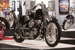 Atomic Berserker, a custom '1968 Harley-Davidson Shovelhead by Trent Schara of Atomic Custom in Michael Lichter's Skin & Bones tattoo inspired Motorcycles as Art show at the Buffalo Chip Gallery during the annual Sturgis Black Hills Motorcycle Rally. SD, USA. August 10, 2016. Photography ©2016 Michael Lichter.
