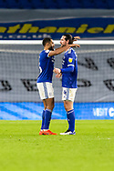 Cardiff City's Will Vaulks (6) and Sean Morrison (4) react after the final whistle at the EFL Sky Bet Championship match between Cardiff City and Birmingham City at the Cardiff City Stadium, Cardiff, Wales on 16 December 2020.
