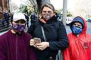 Protesters wearing PPE indigenous designed masks during the Black Lives Matter rally. This event was organised to rally against black deaths in custody in Australia as well as George Floyd, an unarmed black man killed at the hands of a police officer in Minneapolis, Minnesota and David Dungay who died in custody at Long Bay prison in Sydney. (Photo by Pete Dovgan/ Speed Media)