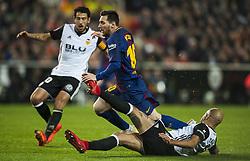 November 26, 2017 - Valencia, Valencia, Spain - Leo Messi,Simone Zaza, Parejo during the match between Valencia CF vs. FC Barcelona, week 13 of La Liga at Mestalla Stadium, Valencia, SPAIN on 26th November 2017. (Credit Image: © Jose Breton/NurPhoto via ZUMA Press)