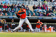 Giancarlo Stanton #27 of the Miami Marlins bats against the Minnesota Twins in Game 2 of a split doubleheader on April 23, 2013 at Target Field in Minneapolis, Minnesota.  The Marlins defeated the Twins 8 to 5.  Photo: Ben Krause