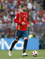 Gerard Pique of Spain during the 2018 FIFA World Cup Russia round of 16 match between Spain and Russia at the Luzhniki Stadium on July 01, 2018 in Moscow, Russia