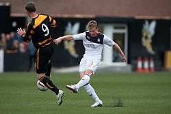 Falkirk's Stephen Kingsley shoots.<br /> Alloa Athletic 0 v 0 Falkirk, Scottish Championship 12/10/2013. played at Recreation Park, Alloa.<br /> ©Michael Schofield.