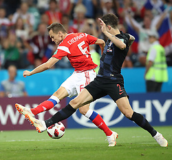 SOCHI, July 7, 2018  Denis Cheryshev (L) of Russia vies with Sime Vrsaljko of Croatia during the 2018 FIFA World Cup quarter-final match between Russia and Croatia in Sochi, Russia, July 7, 2018. (Credit Image: © Wu Zhuang/Xinhua via ZUMA Wire)