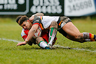 Bradford Bulls winger Dalton Grant (5) scores a try to make the score 0-28 during the Betfred League 1 match between Keighley Cougars and Bradford Bulls at Cougar Park, Keighley, United Kingdom on 11 March 2018. Picture by Simon Davies.