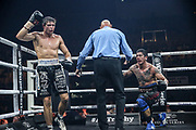 Boxen: World Boxing Super Series, Middleweight, Schwerin, 27.10.2017<br /> Vincent Feigenbutz (Germany, black/white) - Gaston Alejandro Vega (Argentina, black/red)<br /> © Torsten Helmke