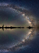 A mirrored image of the Milky Way rising above the Central Oregon Cascades provides a dramatic imaginary view of the beginning of creation.