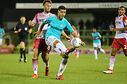 Forest Green Rovers Lloyd James(4) controls the ball during the EFL Sky Bet League 2 match between Forest Green Rovers and Stevenage at the New Lawn, Forest Green, United Kingdom on 21 August 2018.