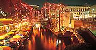 "Texas, San Antonio, ""River Walk"" on the San Antonio River during Christmas"