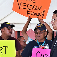 Veterans coincided their two-day walk Monday from Chinle, Arizona, to Dine' College, Tsaile, Arizona, with the last presidential forum to grab the attention of candidates to their continued plight of lack of funding. Veterans stopped and questioned presidential candidate Vice President Jonathan Nez.