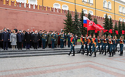 May 9, 2017 - Moscow, Russia - May 9, 2017. - Russia, Moscow. - Russian President Vladimir Putin, Prime Minister Dmitry Medvedev during the flower-laying ceremony at the Tomb of the Unknown Soldier in the Alexander Garden to mark the 72nd anniversary of Victory in the 1941-45 Great Patriotic War. (Credit Image: © Russian Look via ZUMA Wire)