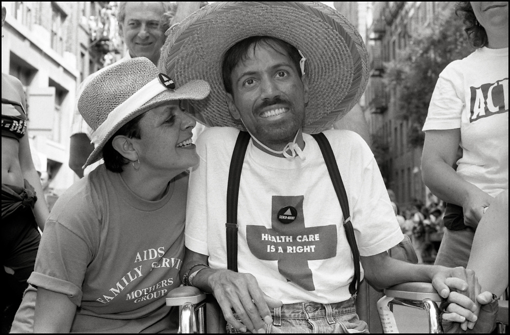 Ray Navarro of ACT UP and his mother Patricia march in the Gay Pride Parade in New York City in June, 1990. Ray Navarro was an American video artist, filmmaker, and HIV/AIDS activist. Navarro was an active member of ACT UP and a founder of Diva TV. His activism was featured in the documentary How to Survive a Plague. Navarro's art was exhibited at the Institute of Contemporary Art, Boston, and in Pacific Standard Time: LA/LA. Ray Navarro died in November of 1990.
