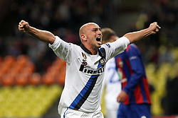 27.09.2011, Arena Chimki, Moskau, RUS, UEFA CL, Gruppe B, ZSKA Moscow (RUS) vs Inter Mailand (ITA), im Bild Esultanza di Esteban Cambiasso Inter.Celebration. // during the UEFA Champions League game, group B, ZSKA Moskau (RUS) vs Inter Mailand (ITA) at Arena Chimki in Moscow, Russia on 2011/09/27. EXPA Pictures © 2011, PhotoCredit: EXPA/ InsideFoto/ Paolo Nucci +++++ ATTENTION - FOR AUSTRIA/(AUT), SLOVENIA/(SLO), SERBIA/(SRB), CROATIA/(CRO), SWISS/(SUI) and SWEDEN/(SWE) CLIENT ONLY +++++