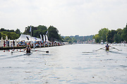 """Henley on Thames, United Kingdom, 3rd July 2018, Sunday,  """"Henley Royal Regatta"""", The Diamond Challenge Sculls, Finalists, (Left) Mahe DRYSDALE NZL M1X,  (Right) Kjetil BORCH NOR M1X, power away from the end of the island,   View, Henley Reach, River Thames, Thames Valley, England, UK."""
