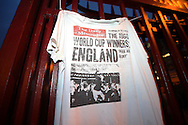 a T-shirt of the The Daily Messenger with the front cover the the 1966 World Cup Winners England is seen on the main gates outside Boleyn Ground during the 1st half. scenes around the Boleyn Ground, Upton Park in East London as West Ham United play their last ever game at the famous ground before their move to the Olympic Stadium next season. Barclays Premier league match, West Ham Utd v Man Utd at the Boleyn Ground in London on Tuesday 10th May 2016.<br /> pic by John Patrick Fletcher, Andrew Orchard sports photography.
