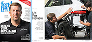 Editorial portraits of an automotive industry  business owner in a magazine article tear sheet