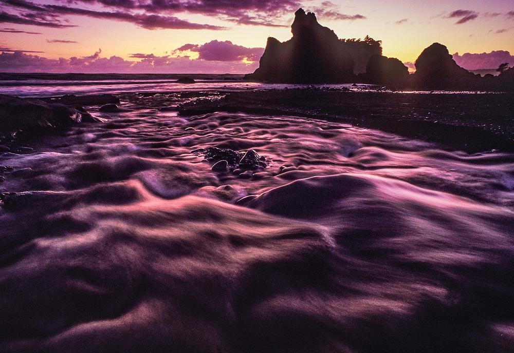 Olympic National Park, Washington, USA. Pacific Coast, Cedar Creek and Ruby Beach, twilight.