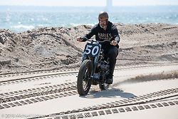 Brian Cannon racing his 1934 Harley-Davidson VLD in the Bradford Beach Brawl, a TROG style beach racing event, during the Harley-Davidson 115th Anniversary Celebration event. Milwaukee, WI. USA. Friday August 31, 2018. Photography ©2018 Michael Lichter.