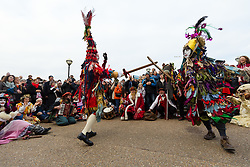 © Licensed to London News Pictures. 06/01/2019. London, UK.  Actors from The Bankside Mummers group (the Lions part) take part in a procession and play near the Globe Theatre in central London, in celebration of Twelfth Night, marking the end of the twelve days of winter festivities. Twelfth Night celebrations in the traditional agricultural calendar mark a last chance to make merry before returning to the rigours of work on Plough Monday.Photo credit: Vickie Flores/LNP