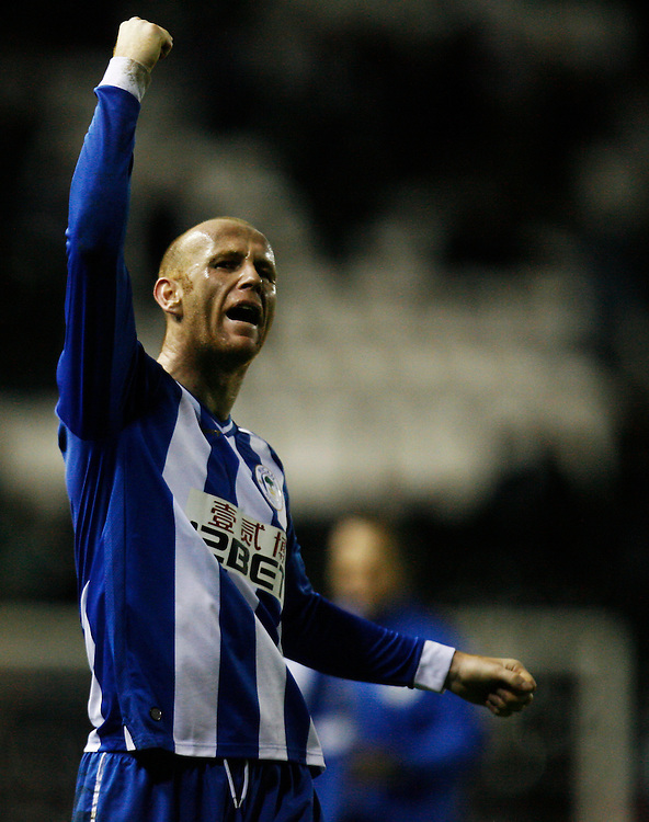 Wigan Athletic's Stephen Crainey celebrates at the final whistle<br /> <br /> Photo by Jack Phillips/CameraSport<br /> <br /> Football - The Football League Sky Bet Championship - Derby County v Wigan Athletic - Wednesday 1st January 2014 - The iPro Stadium - Pride Park - Derby <br /> <br /> <br /> <br /> © CameraSport - 43 Linden Ave. Countesthorpe. Leicester. England. LE8 5PG - Tel: +44 (0) 116 277 4147 - admin@camerasport.com - www.camerasport.com