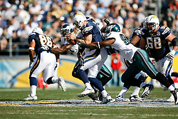 Philadelphia Eagles defensive end Victor Abiamiri #95 sacks San Diego Chargers quarterback Philip Rivers #17 during the NFL game between the Philadelphia Eagles and the San Diego Chargers on November 15th 2009. At Qualcomm Stadium in San Diego, California. (Photo By Brian Garfinkel)