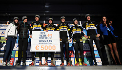 February 10, 2018 - Lille, BELGIUM - Telenet Fidea riders pictured on the podium after the men's elite race of the Krawatencross cyclocross in Lille, the eighth and last stage in the DVV Verzekeringen Trofee Cyclocross competition, Saturday 10 February 2018. BELGA PHOTO DAVID STOCKMAN (Credit Image: © David Stockman/Belga via ZUMA Press)