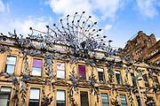 Famous peacock modern art sculpture above Prince's Square Shopping Centre in Buchanan Street, Glasgow City Centre, Scotland