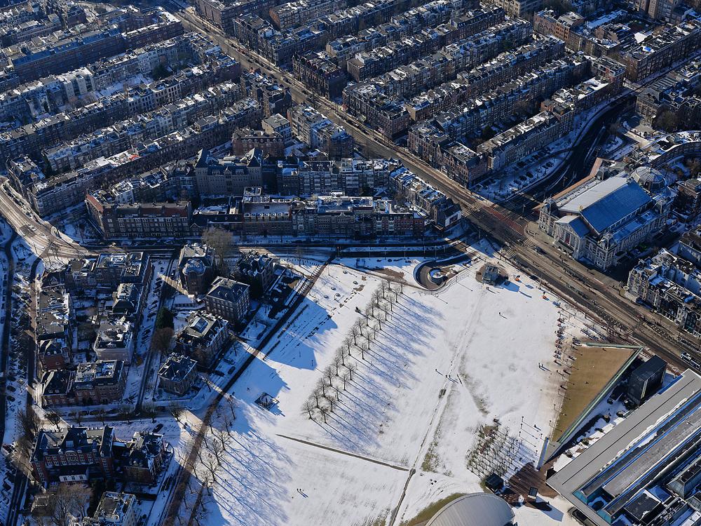 Nederland, Noord-Holland, Amsterdam, 13-02-2021; Museumplein onder de sneeuw en in de winter. Van Baerlestraat mey Concertgebouw.<br /> Museumplein under the snow and in winter.<br /> luchtfoto (toeslag op standaard tarieven);<br /> aerial photo (additional fee required)<br /> copyright © 2021 foto/photo Siebe Swart