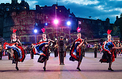 Edinburgh, Scotland, UK. 5 August, 2019.  The Royal Edinburgh Military Tattoo forms part of the Edinburgh International festival. Pictured; French Can Can dancers with the Music de Artillerie band from France