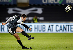 Sam Davies of Ospreys kicks at goal<br /> <br /> 2nd November, Liberty Stadium , Swansea, Wales ; Guinness pro 14's Ospreys Rugby v Glasgow Warriors ;  <br /> <br /> Credit: Simon King/News Images<br /> <br /> Photographer Simon King/Replay Images<br /> <br /> Guinness PRO14 Round 8 - Ospreys v Glasgow Warriors - Friday 2nd November 2018 - Liberty Stadium - Swansea<br /> <br /> World Copyright © Replay Images . All rights reserved. info@replayimages.co.uk - http://replayimages.co.uk