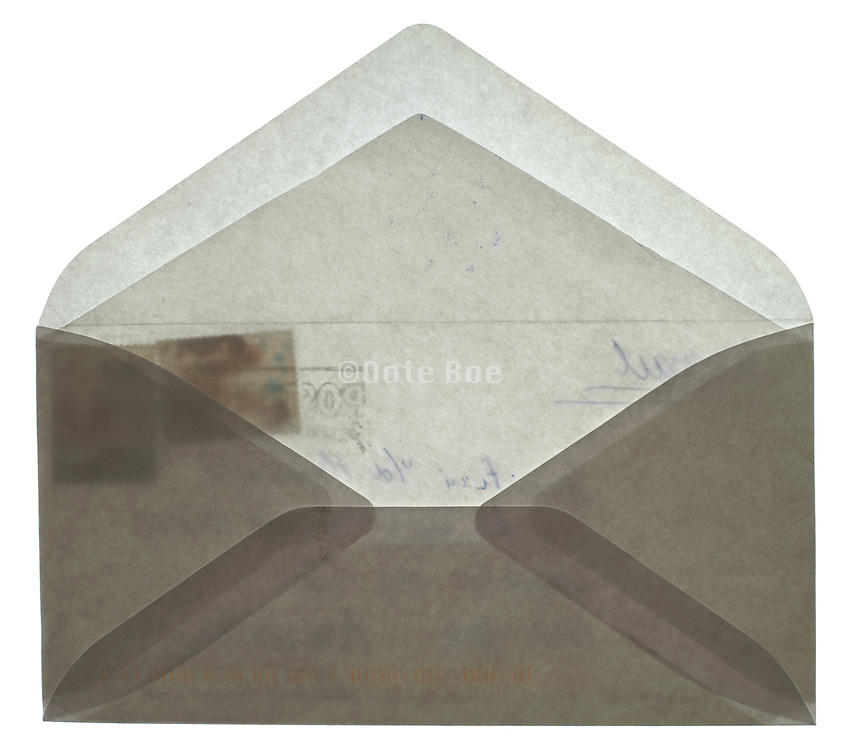 back side of an open blank white envelope with stamps