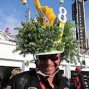 "Canadian Bob James wears a Kyle Busch ""Shrub"" hat in the pit area prior to the 56th Annual NASCAR Daytona 500 race at Daytona International Speedway on Sunday, February 23, 2014 in Daytona Beach, Florida.  (AP Photo/Alex Menendez)"