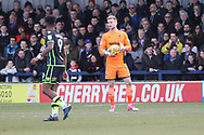 AFC Wimbledon goalkeeper George Long (1) claiming ball from Bristol Rovers striker Ellis Harrison (9)  during the EFL Sky Bet League 1 match between AFC Wimbledon and Bristol Rovers at the Cherry Red Records Stadium, Kingston, England on 17 February 2018. Picture by Matthew Redman.