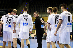 Alfred Gislason, head coach of Germany celebrates after winning during handball match between National Teams of Algeria and Germany at Day 3 of IHF Men's Tokyo Olympic  Qualification tournament, on March 14, 2021 in Max-Schmeling-Halle, Berlin, Germany. Photo by Vid Ponikvar / Sportida
