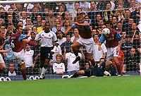 Fotball. Premier League. 24.08.2002.<br /> Tottenham v Aston Villa<br /> Olaf Mellberg, Villa hopper over egen keeper Peter Enckelman.<br /> Foto: David Price, Digitalsport