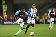 Michail Antonio of West Ham Utd has a shot at goal.  Premier league match, West Ham Utd v Huddersfield Town at the London Stadium, Queen Elizabeth Olympic Park in London on Monday 11th September 2017.<br /> pic by Kieran Clarke, Andrew Orchard sports photography.