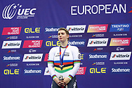 Podium, Women Keirin, Nicky Degrendele (Belgium) silver medal, during the Track Cycling European Championships Glasgow 2018, at Sir Chris Hoy Velodrome, in Glasgow, Great Britain, Day 6, on August 7, 2018 - Photo luca Bettini / BettiniPhoto / ProSportsImages / DPPI<br /> - Restriction / Netherlands out, Belgium out, Spain out, Italy out -