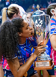 18-05-2019 GER: CEV CL Super Finals Igor Gorgonzola Novara - Imoco Volley Conegliano, Berlin<br /> Igor Gorgonzola Novara take women's title! Novara win 3-1 / Celeste Plak #4 of Igor Gorgonzola Novara kiss the trophy