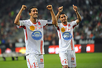 FOOTBALL - FRENCH CHAMPIONSHIP 2010/2011 - L1 - STADE RENNAIS v AS NANCY - 21/05/2011 - PHOTO PASCAL ALLEE / DPPI - CELEBRATION  YOUSSOUF HADJI AND MICHAEL CHRETIEN NANCY AFTER WIN AT THE END OF MATCH