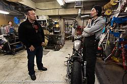 Harley-Davidson design team member Dais Nagao (L) visits with Hideya Togashi at his Hide Motorcycle's shop. Tokyo, Japan. Tuesday, December 9, 2014. Photograph ©2014 Michael Lichter.