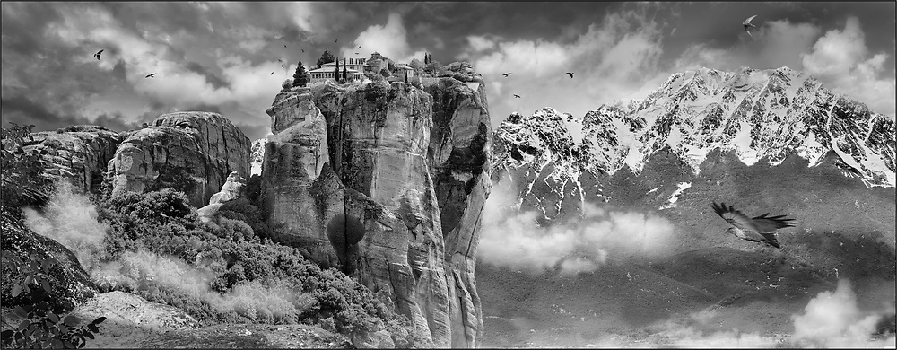 Medieval Meteora  Monastery of The Holy Trinity on top of a rock pillar in the Meteora Mountains, Thessaly, Greece .<br /> <br /> Visit our LANDSCAPE PHOTO ART PRINT COLLECTIONS for more wall art photos to browse https://funkystock.photoshelter.com/gallery-collection/Places-Landscape-Photo-art-Prints-by-Photographer-Paul-Williams/C00001WetsxVxNTo