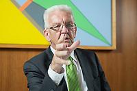 22 SEP 2016, BERLIN/GERMANY:<br /> Winfried Kretschmann, B90/Gruene, Ministerpraesident Baden-Wuerttemberg, waehrend einem Interview, Landesvertertung Baden-Wuerttemberg<br /> IMAGE: 20160922-01-003