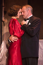 © Licensed to London News Pictures. 11/09/2015. London, UK. L-R: Hannah Brackstone-Brown and Bob Cryer. Photocall for The Sting, play based on the 1973 caper film of the same name, at Wilton's Music Hall. Performances run in the newly refurbished venue from 9 September to 17 October 2015. The Sting is directed by Peter Joucla with Bob Cryer as Gondorff, Ross Forder as Hooker and Hannah Brackstone-Brown as Billie. Photo credit : Bettina Strenske/LNP