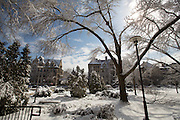 March snowstorm covers University of Chicago campus.