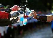 The Medtronic Twin Cities Marathon- Volunteers handed energy drinks to marathon runners at a water station along Lake Harriet Parkway in Minneapolis, about seven miles into the 26.2 mile marathon.